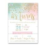 Πρόσκληση Βάπτισης για Δίδυμα σε Pastel Watercolor