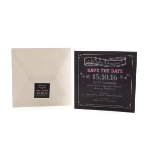 Save the Date Πρόσκληση Γάμου με Μαυροπίνακα