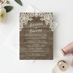 Ρουστίκ Καλαίσθητη Κάθετη Πρόσκληση Γάμου