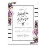 Ρομαντικό Κάθετο Προσκλητήριο Γάμου με Τριαντάφυλλα
